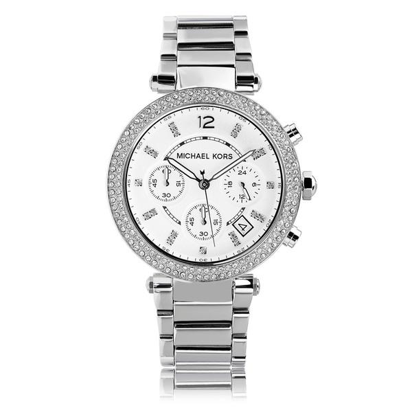56aee2954cc3 Michael Kors Women u0026 x27 s MK5353 Crystal Bezel Stainless Steel  Chronograph Watch