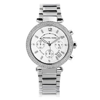 Michael Kors Women's Crystal Bezel Stainless Steel Chronograph Watch - silver