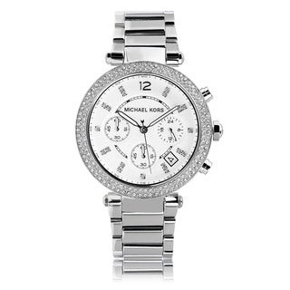 Michael Kors Women's MK5353 Crystal Bezel Stainless Steel Chronograph Watch - silver