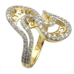 Beverly Hills Charm 14k Yellow Gold 1ct TDW Diamond Curved Ring (H-I, I2)