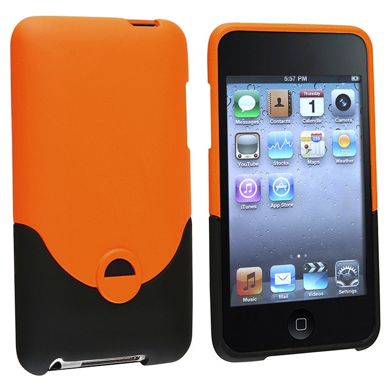 INSTEN Orange/ Black Rubber Coated iPod Case Cover for Apple iPod touch 2nd/ 3rd Gen