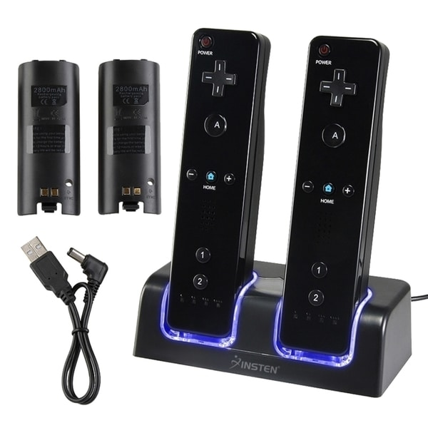 INSTEN Wii - Black Dual Charging Station/ Batteries for Nintendo Wii Remote