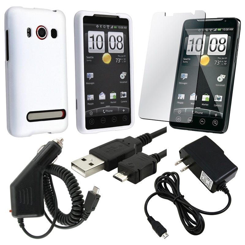 Case/ LCD Protector/ Travel and Car Charger/ USB Cable for HTC EVO 4G - Thumbnail 0