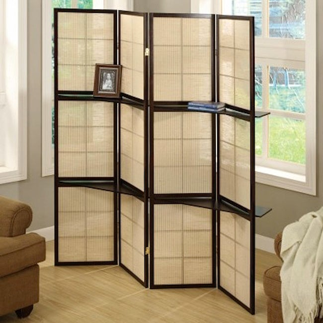 Cappuccino Wood Framed 4-panel Room Divider with Shelves - Thumbnail 0