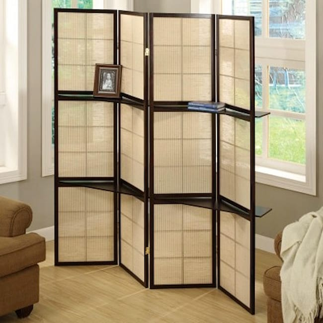 Cappuccino Wood Framed Panel Room Divider With Shelves Free - 4 panel room divider