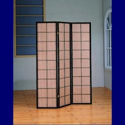 Cappuccino Wood Framed 3-panel Room Divider