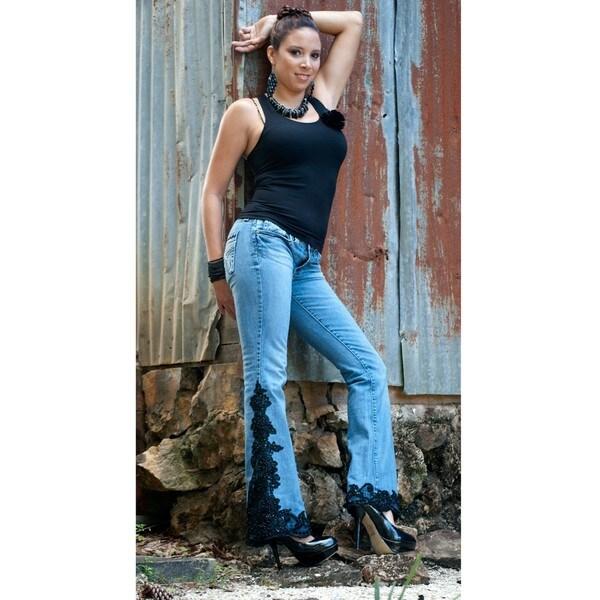 Blue Jeans with Black Lace Trim