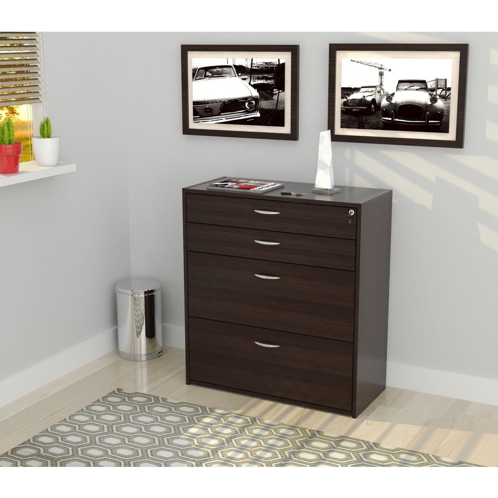 Inval Four Drawer File/ Storage Cabinet with Locking Syst...