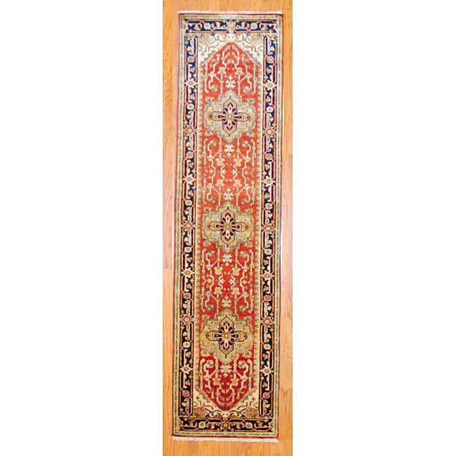 Herat Oriental Indo Hand-knotted Heriz Wool Runner (2'6 x 10')