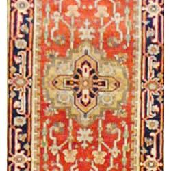 Herat Oriental Indo Hand-knotted Heriz Wool Runner (2'6 x 10') - Thumbnail 1