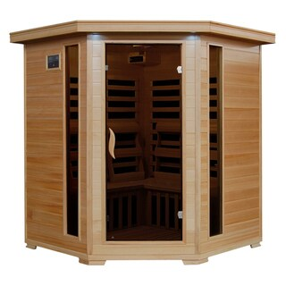 Radiant Sauna 4-person Hemlock Corner Infrared Sauna with 10 Carbon Heaters