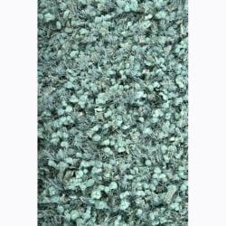 Handwoven Turquoise Mandara Shag Rug (9' x 13')
