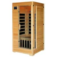 Radiant Saunas 1 to 2-Person Infrared Sauna Room with 4 Low-EMF Carbon Heaters, Audio System, Canadian Hemlock