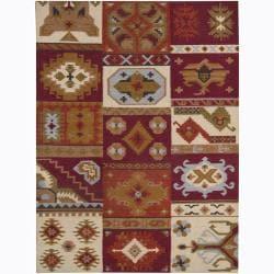 Artist's Loom Handmade Flatweave Country Abstract Wool Rug (5'x7') - Thumbnail 0