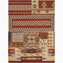 Artist's Loom Handmade Flatweave Country Abstract Wool Rug - 5' x 7' - Thumbnail 0
