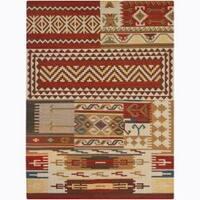 Artist's Loom Handmade Flatweave Country Abstract Wool Rug - 5'x7'