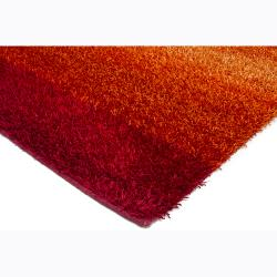 Handwoven Orange/Red Mandara Shag Rug (5' x 7'6) - Thumbnail 1