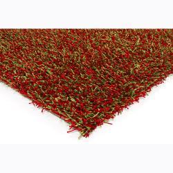 Handwoven Green/Red Mandara Shag Rug (5' x 7'6)