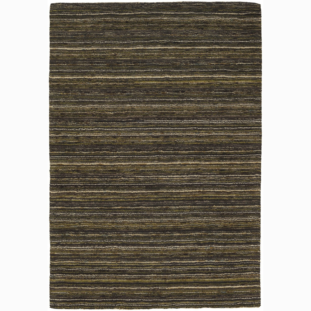 Artist's Loom Hand-woven Contemporary Stripes Wool Rug (5'x7'6) - 5' x 7'6