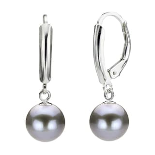 DaVonna Silver Grey Round FW Pearl Leverback Earrings (7-8 mm)