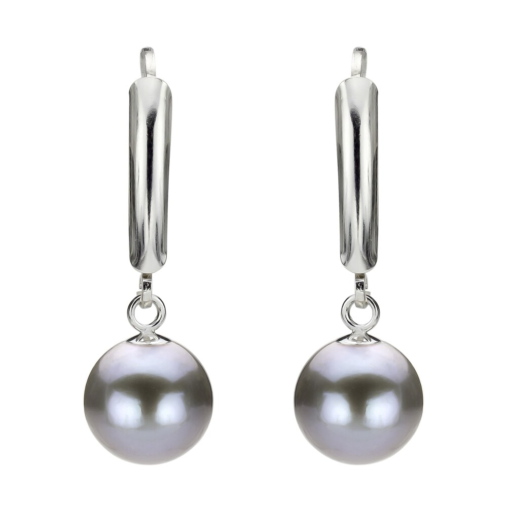 New Black Cultured Freshwater Pearl Lever Back Earrings 7-8MM