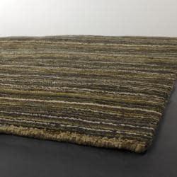 Handwoven Sriped Mandara New Zealand Wool Rug (9' x 13')