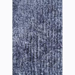 Handwoven One-Inch Blue Mandara Shag Rug (9' x 13') - Thumbnail 2