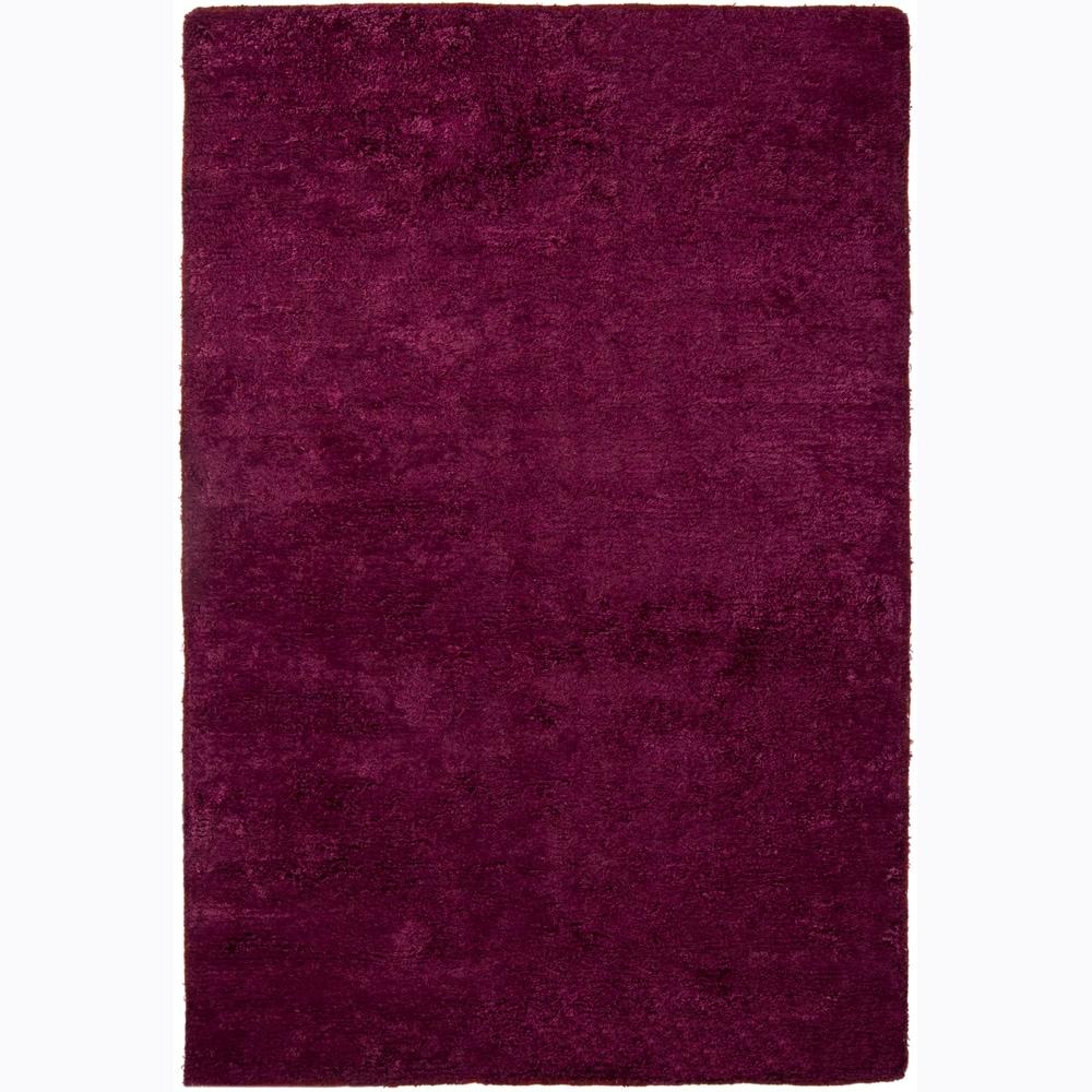Handwoven Burgundy Mandara Shag Rug (9' x 13')