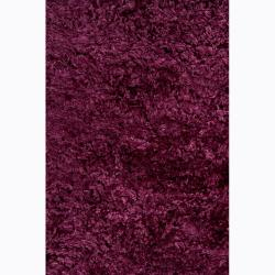 Handwoven Burgundy Mandara Shag Rug (9' x 13') - Thumbnail 2