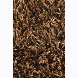 Artist's Loom Hand-woven Shag Rug (7'9 Round) - Thumbnail 2
