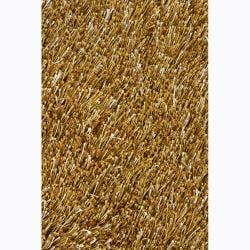Handwoven Gold/Beige Mandara Shag Rug (5' x 7'6)