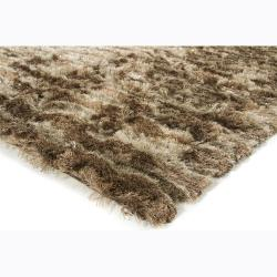 Handwoven Brown/Beige Patterned Mandara Shag Rug (7'9 x 10'6) - Thumbnail 1