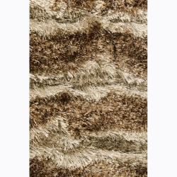 Handwoven Brown/Beige Patterned Mandara Shag Rug (7'9 x 10'6) - Thumbnail 2