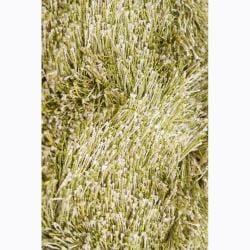 Handwoven Light Green/Yellow Mandara Shag Rug (5' x 7'6)