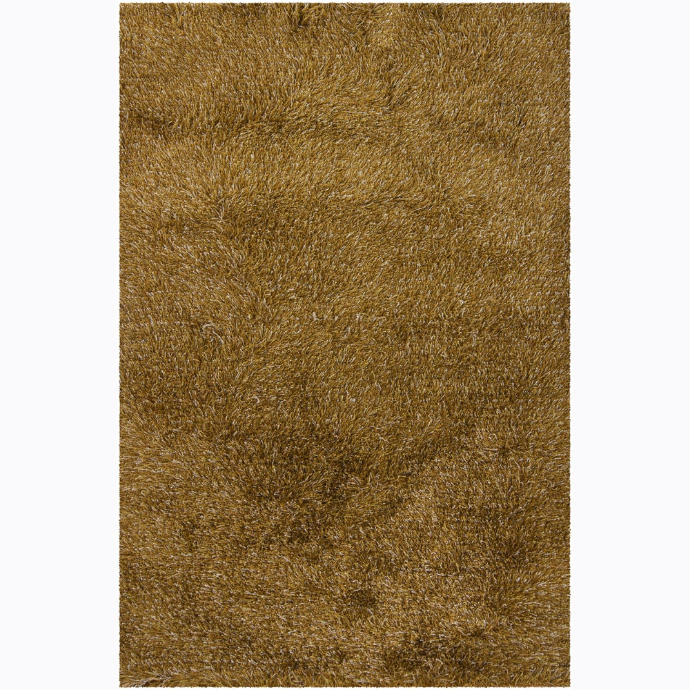 Handwoven Beige/Gold/Brown Mandara Shag Rug (9' x 13')