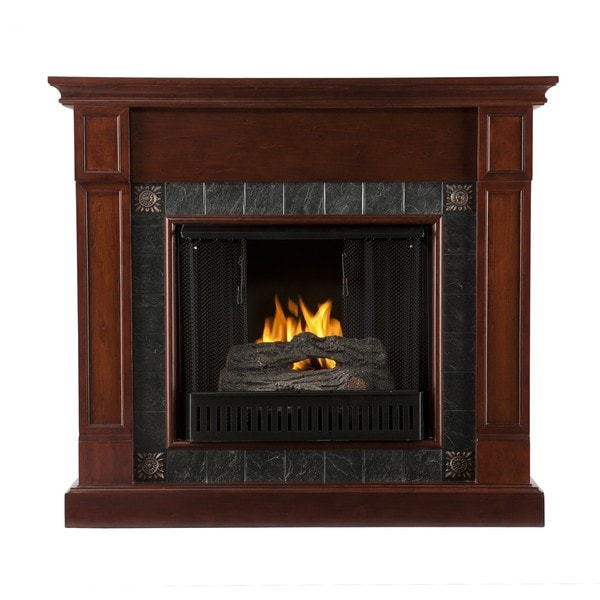 Routh Cherry and Gray Faux Slate Gel Fuel Fireplace