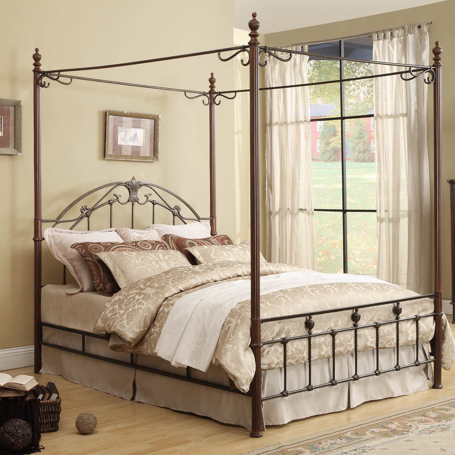 Newcastle Graceful Scroll Bronze Iron Canopy Poster Bed b...
