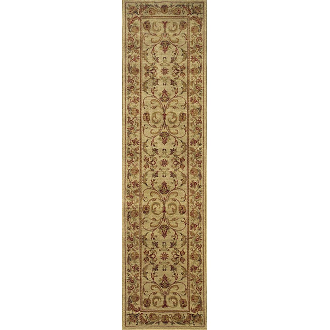 Ellington Beige/ Red Traditional Runner Rug (1'11 x 7'6)