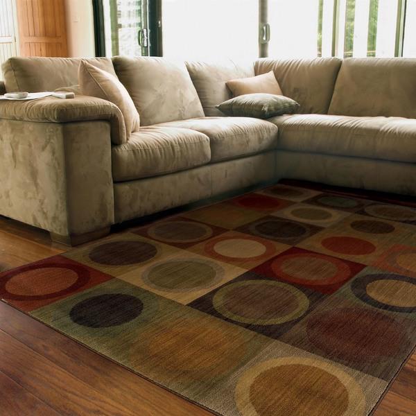 Ellington Green/Red Contemporary Area Rug (3'10 x 5'5)