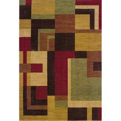 Ellington Red/Gold Contemporary Area Rug (3'10 x 5'5)