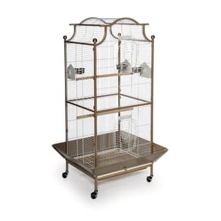Prevue Pet Products Large Locking Cocoa/White Pagoda Cockatiel Cage|https://ak1.ostkcdn.com/images/products/6236711/P13878097.jpg?impolicy=medium