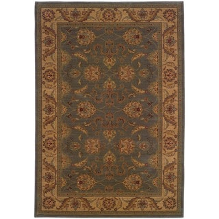 Ellington Green/Beige Traditional Area Rug (5'3 x 7'6)