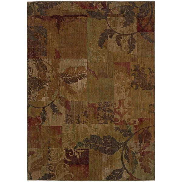 """Ellington Green/ Red Transitional Floral Area Rug (5'3 x 7'6) - 5'3"""" x 7'6"""""""