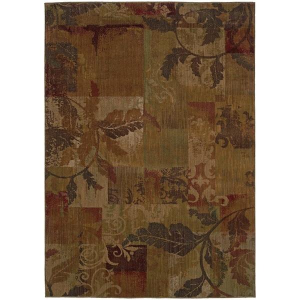 Ellington Green/ Red Transitional Floral Area Rug (5'3 x 7'6)