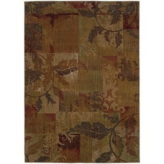 Ellington Green/ Red Transitional Floral Area Rug (5'3 x 7'6)
