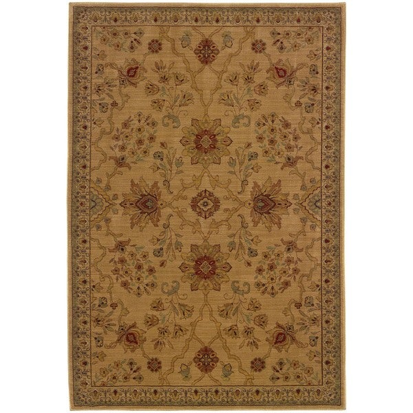 Ellington Beige/Red Traditional Area Rug - 6'7 x 9'6