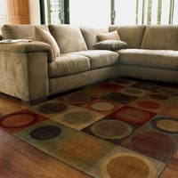 "Ellington Green/Red Contemporary Area Rug (6'7 x 9'6) - 6'7"" x 9'6"""