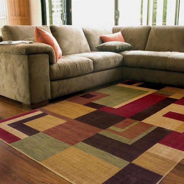 "Ellington Red/Gold Contemporary Area Rug (6'7 x 9'6) - 6'7"" x 9'6"""