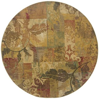 Ellington Green/Red Transitional Area Rug - 7'8 Round