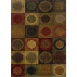 Ellington Green/Red Contemporary Area Rug (7'8 x 10'10)